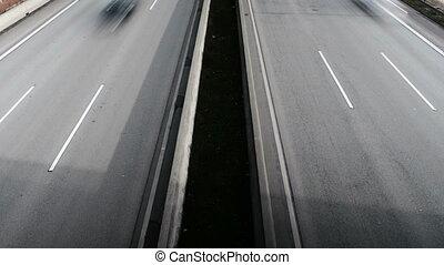 autoroute, au-dessus, vue