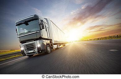 autoroute, camion, européen
