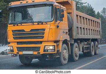 autoroute, camion, hiver, décharge, va