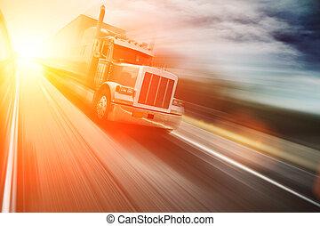 autoroute, camion