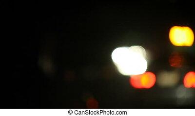 autoroute, defocused, nuit