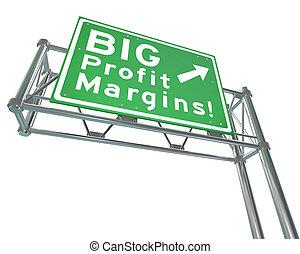 autoroute, gagné, profit, grand signe, augmentation, revenu, marges, filet, route