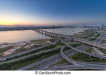 autoroute, jonc, shanghai, heure, ville, échange, trafic