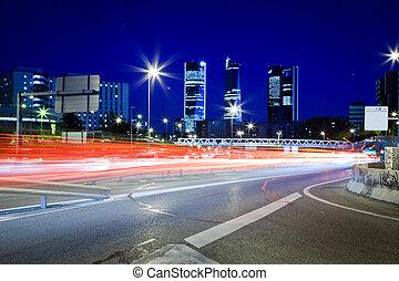 autoroute, lumières, queue, trafic, brouillé