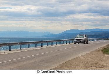 autoroute, mouvements, long, voiture, mer