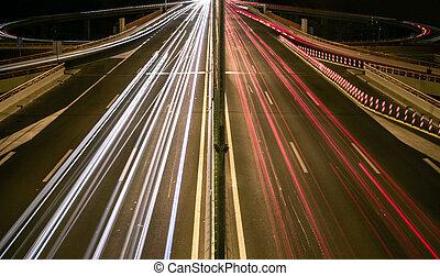 autoroute, pistes lumière