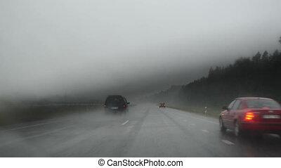 autoroute, pluie, terrible