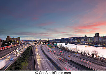 autoroute, portland, trafic, heure pointe
