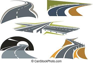 autoroute, route, icônes, ensemble, autoroute