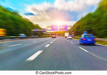 autoroute, trafic, à, ternissure mouvement, effet