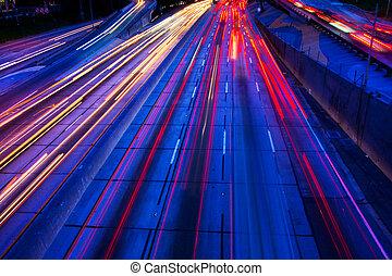 autoroute, trafic, nuit