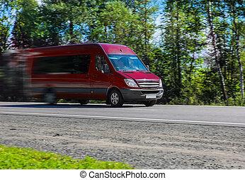 autoroute, va, minibus, pays