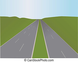 autoroute, vecteur, -, illustration