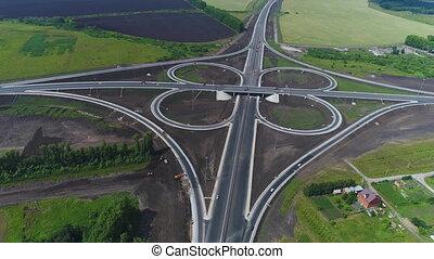 autoroute, vue, aérien, junction.