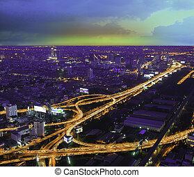 autoroute, vue, bangkok, autoroute, thaïlande, sommet