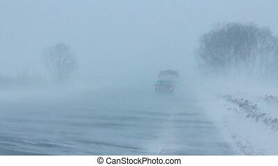 autos, auf, winter, straße, an, schneesturm