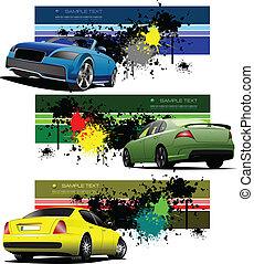 autos, banner, grunge, drei