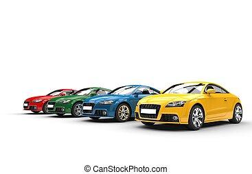 auto's, -, basis, kleuren, -, buig schot om