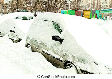 autos, bedeckt, mit, schnee