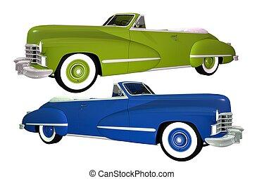 auto's, classieke, twee, vrijstaand