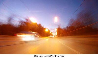 auto's, gaan, op, snel, snelweg, in, avond