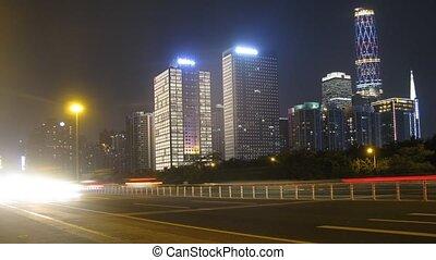autos, gehen, nacht, auf, landstraße, bei, zu, zhujiang, neu...