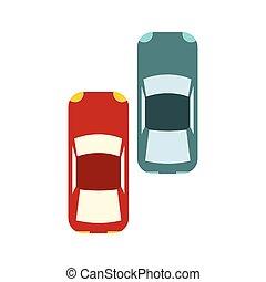 auto's, hardloop, verhuizing, twee, vasten