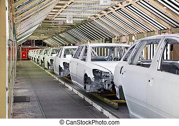 auto's, in een rij, op, auto fabriek