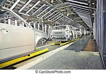 auto's, in een rij, op, auto plant