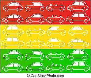 auto's, in, kleuren, van, stoplichten