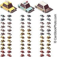 auto's, isometric, vector, set