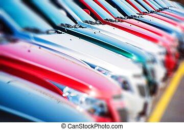 auto's, kleurrijke, liggen