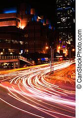autos, licht, in, stadt