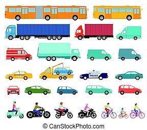 Autos LKW Motorad.eps - Cars, truck, bus, scooter,...
