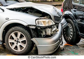 autos, metall, schaden, blatt