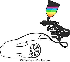 auto's, nevel het schilderen