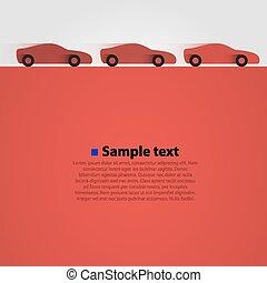 autos, rennen, drei, rotes , hintergrund.