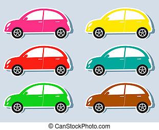 autos, satz, retro, bunte