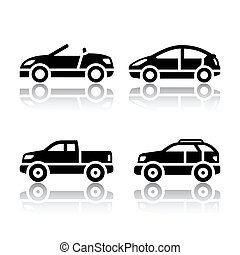 auto's, set, -, vervoeren, iconen
