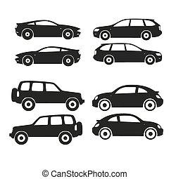auto's, silhouette, set