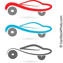 autos, silhouetten, vektor, logo