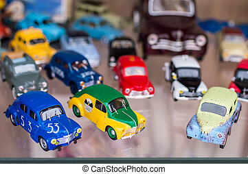 auto's, speelbal, sportende, retro, kleurrijke