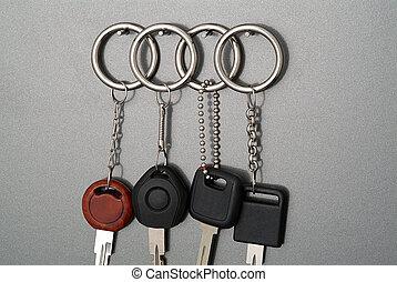 autoschlüssel, auf, grauer hintergrund