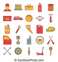 Autoservice icon set, cartoon style