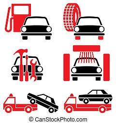 autoservices - Icon of automotive tools and services. Set of...