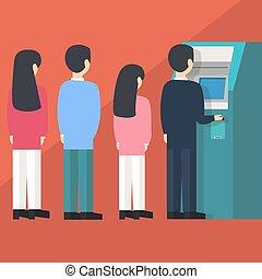 autoservicio, empate, gente, dinero, atm, cola, ilustración, máquina, esperar, vector, automatizado, línea, caricatura, cajero