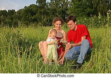 (autoshoot), bébé, pré, famille