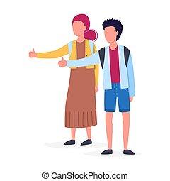 autostopista, joven, autostop, concept., backpack., mujer