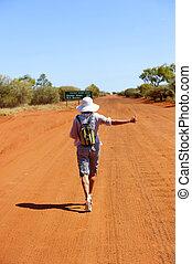 autostoppista, outback, australia