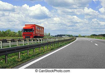 autostrada, camion